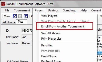 Import der angemeldeten Spieler vom Ersatz-PC