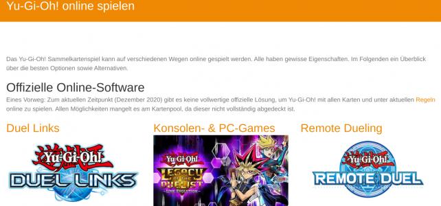 Screenshot der Seite zu Yugioh online spielen